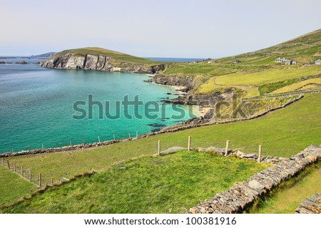 View from Slea Head in the background the Blasket islands in Ireland.