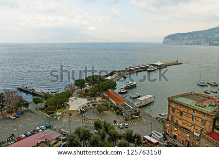 View from Sorrento to the sea and volcano.