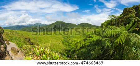 View from Soufriere volcano, the highest mountain in Guadeloupe, French department in Caribbean