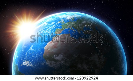 View from space of the Sun setting over Earth
