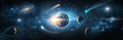View from space to the planet Earth, galaxies, stars, comet, asteroid, meteorite, nebula, Saturn. Cosmic panorama of the universe. Space travel fantasy. Elements of this image furnished by NASA