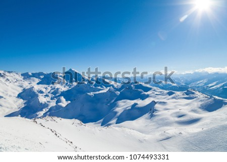 View from summit Cime de Caron (3200 m.)France, the Worlds largest skiing area. #1074493331