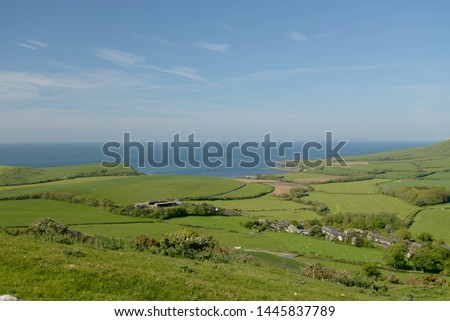 View from Swyre Head ridge over Kimmeridge Bay on the Dorset coast #1445837789