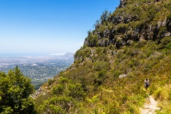 View from Table Mountain National Park in Cape Town to the Claremont area in South Africa.