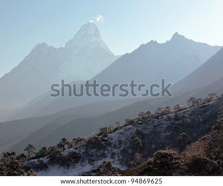 View from Tengboche in the direction Ama Dablam - Nepal, Himalayas