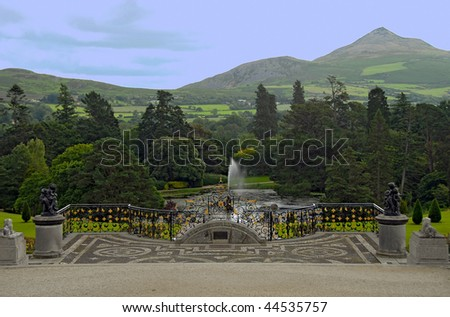 View from terrace of the garden at Powerscourt