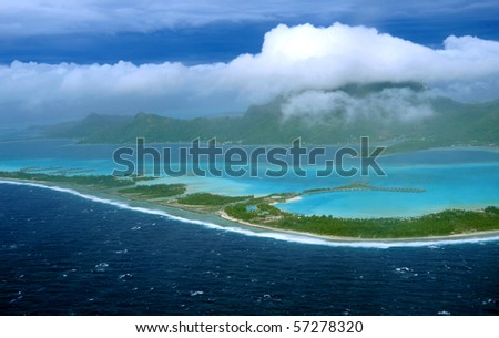view from the above , bora bora - stock photo