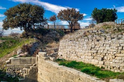 View from the archeological site of Troy or Ilion. An ancient Greek city in Minor Asia , known from the Greek Homer, who in the Iliad describes the first recorded Greek civil war, the Trojan war.