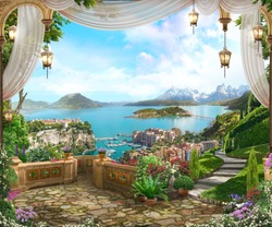View from the balcony on the coast of Italy with white curtains, lanterns and a beautiful garden. Digital fresco. Wallpaper. 3d render