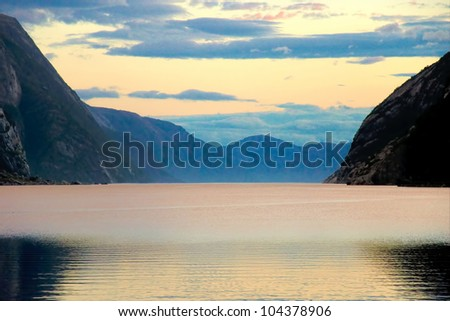 View from the beach at sunset Lysebotn, Norway