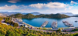 View from the bird's eye of the Kas city, district of Antalya Province of Turkey, Asia. Colorful spring panorama of small Mediterranean yachting and tourist town.