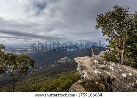 View from the Boroka lookout in the Grampians National Park in Victoria, Australia at a cloudy day in summer. Stock photo ©