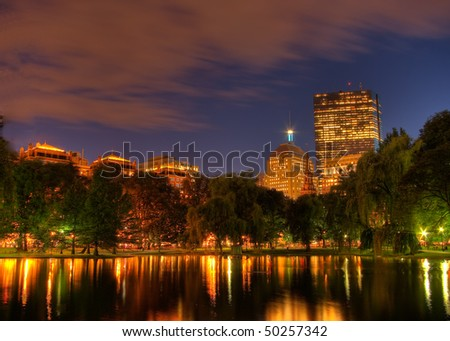 View from the Boston Garden Towards Copley Square at Sunset (HDR)