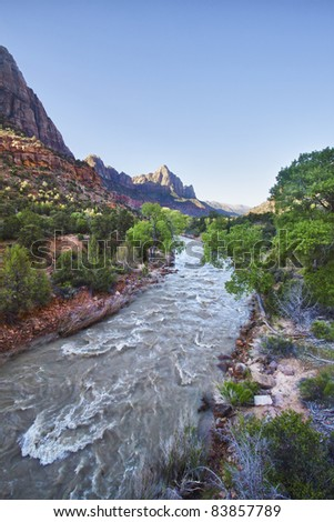View from the bridge in Zion Canyon National Park, Utah, USA