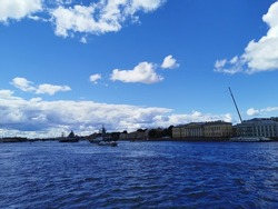 View from the bridge of the warships Frigate and Corvette in the waters of the Neva River on the Day of the Navy in St. Petersburg.