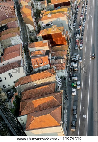 View from the bridge on the tiled roof of the old Porto, Portugal