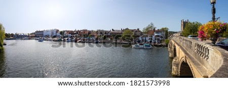 View from the bridge over the River Thames at Henley in Oxfordshire, England. Wide panoramic landscape Сток-фото ©