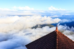View from the Buddhist monastery on the Adam's peak in Sri Lanka