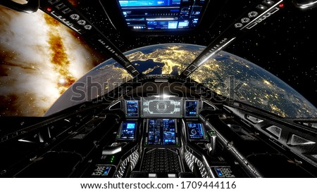 view from the cockpit of a spaceship on Earth, view from the spacecraft's cabin to Earth, cockpit spacehip background, cockpit UFO 3d render