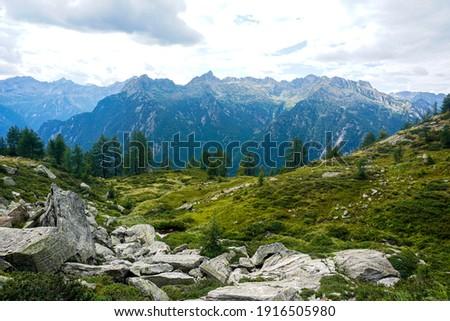 View from the Corte della Sassina alp to the Pizzo di R?d mountain range, Switzerland Stock fotó ©