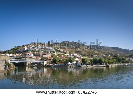 View from the Douro river to Pinhão vilage in Portugal