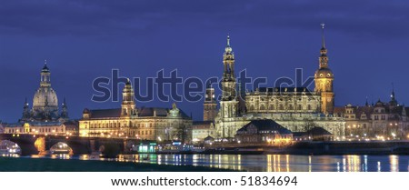View from the Elbe river to Dresden - stock photo