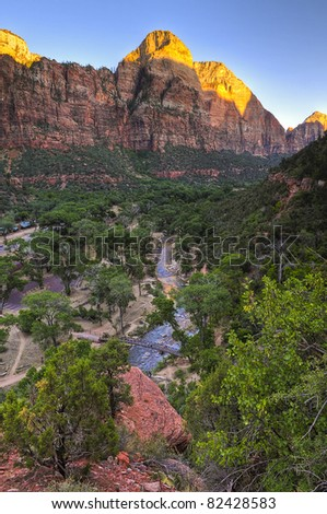 View from the Emeral Pool Trail in Zion Canyon