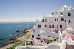 View from the famous Casapueblo, the Whitewashed cement and stucco buildings near the town of Punta Del Este. This is a hotel and a gallery art where use to work the famous artist and celebrity Carlos