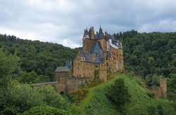 View from the forest to Eltz Castle near Koblenz in Germany