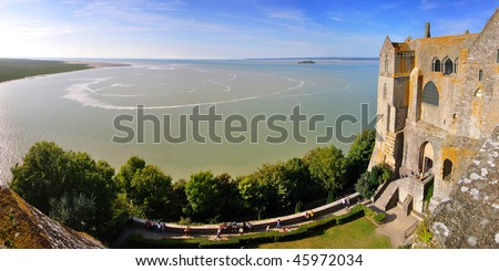 view from the fortress wall at Mont Saint Michel. France. Panorama