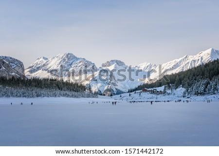 View from the frozen Oeschinensee to the Bernese Oberland - Kandersteg, Switzerland