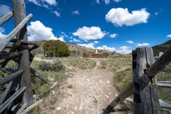 View from the gate, at the trail leading up to the cemetary of Bannack Ghost Town, Montana