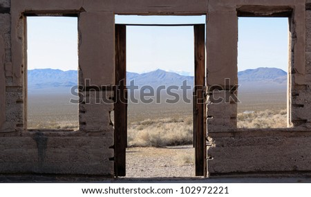 View from the ghost town of Rhyolite, Nevada, near Death Valley National Park