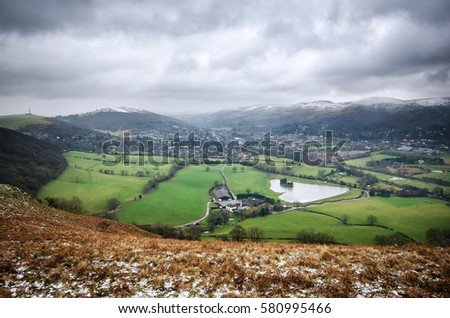View from the hill Caer Caradoc, Shropshire in Winter, Looking down on the village Church Stretton. #580995466