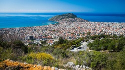 View from the hill in Alanya, Turkey. Alanya cityscape. Turkish resort. View from top of the Alanya castle in Alanya