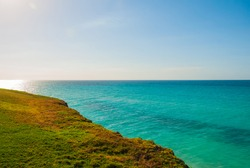 View from the hill to the beautiful turquoise sea. Cuba. Varadero