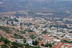 View from the hill to the city of Peja on the island of Cyprus