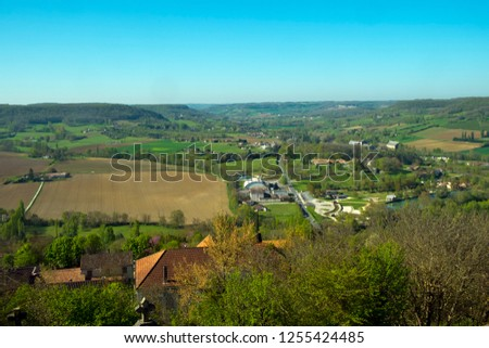 View from the hilltop church of Notre-Dame de Peyragude in Penne d'Agenais, Lot-et-Garonne, France. This idyllic hilltop village has extensive views over the River Lot and surrounding countryside.