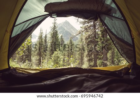 View from the Inside of Tent at High Altitude in Scottish Highlands #695946742