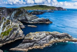 View from the Kerry Cliffs, Skellig Ring, Portmagee, Anillo de Kerry, Eire.