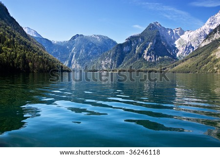 View from the Koenigssee towards the alps in summer