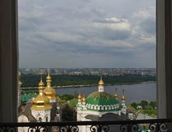 View from the large Lavra bell tower to the churches of the Kiev-Pechersk Lavra and the left bank of Kiev