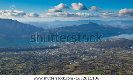 View from the Mont Revard to the lake Bourget and Aix les Bains in France Photo stock ©