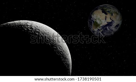 view from the moon to the Earth, moon and earth, big moon and planet earth, craters of the moon and earth in the sky 3d render