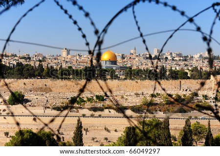 View From the Mount of Olives on the Dome of the Rock Through the Barbed Wire