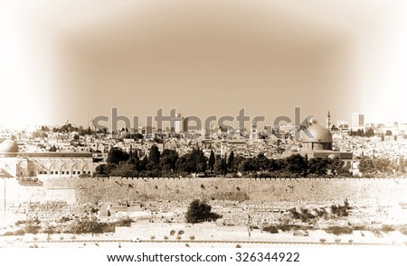 view from the mount olives to...