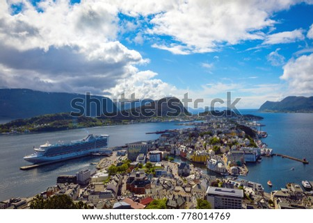 view  from the mountain Aksla at the city of Alesund , Norway #778014769
