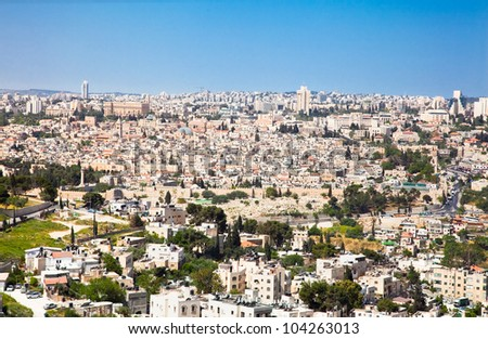 View from the Mountain of Olives on the old part of city Jerusalem. Israel.