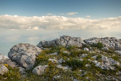 view from the mountain, on a cliff, mountain Crimea, above the clouds