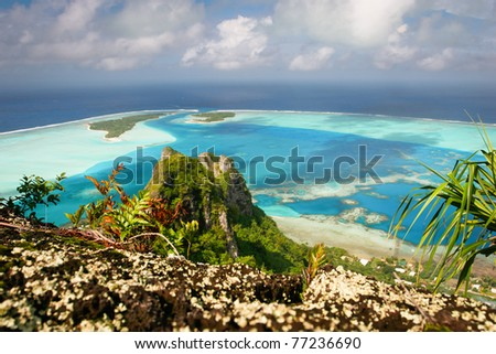 View from the mountain peak, Maupiti, French Polynesia, Society Islands